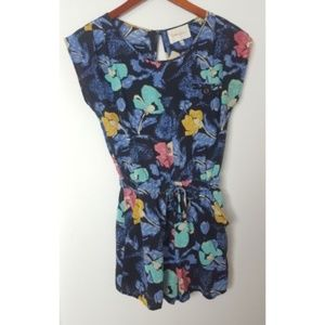 Yumi Kim Romper Blue Floral Print Silk Shorts
